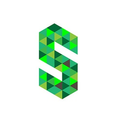 Letter S logo template Green triangles concept vector image