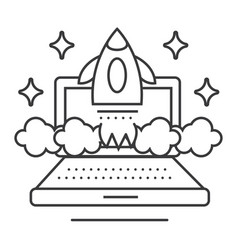 online business launch line icon sign vector image