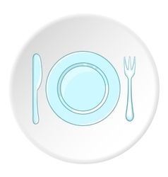 Plate with spoon and fork icon cartoon style vector image vector image