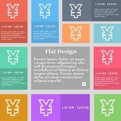 Yen JPY icon sign Set of multicolored buttons with vector image