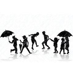 Children enjoy the rain vector image