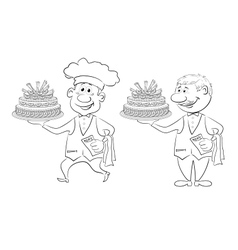 Cook and waiter with holiday cakes outline vector image vector image
