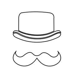 elegant hat hipster style isolated icon design vector image vector image
