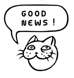 Good news cartoon cat head speech bubble vector