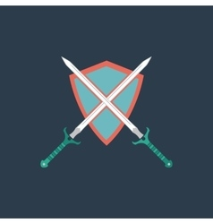 Two swords and shiel vector image vector image