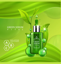 vital serum dropper bottle decorated with green vector image