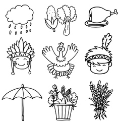 Doodle of hand draw thanksgiving element vector