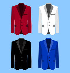 man suit set on blue background business flat vector image vector image