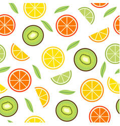 seamless pattern with orange and kiwi vector image