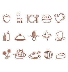 thanksgiving outline icons set vector image