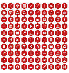 100 ambulance icons hexagon red vector image vector image