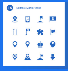 16 marker icons vector image