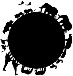 Animal silhouette and world vector