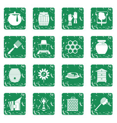 Apiary tools icons set grunge vector