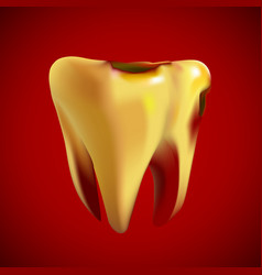 bad sick yellow tooth with caries vector image