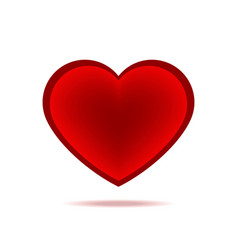 beautiful red heart with shadow isolated icon vector image