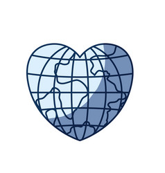 Blue color silhouette shading of front view globe vector