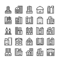 buildings landmarks line icons 10 vector image
