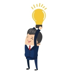 businessman holding lightbulb icon vector image