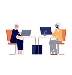 call center operators woman man customer service vector image