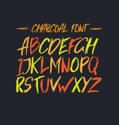 charcoal trendy cute font messy unique type with vector image