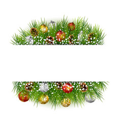 Christmas with snowball cypress background frame vector