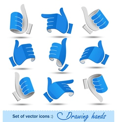 Collection of drawing hands vector