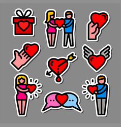 color love stickers vector image
