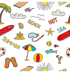 Colorful beach doodles vector image
