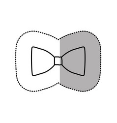 Contour sticker bow tie icon vector