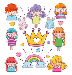 cute cartoons collection vector image