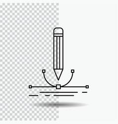design pen graphic draw line icon on transparent vector image