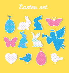 easter set with angel egg butterfly heart vector image