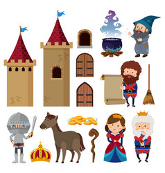 Fairytale characters and castle towers vector
