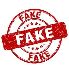 Fake red grunge round vintage rubber stamp vector