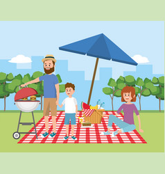 family picnic with umbrella and basket with fruit vector image