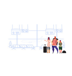 family travelers passengers in airport at waiting vector image