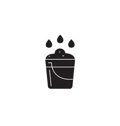 farm bucket black concept icon farm bucket vector image
