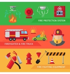 Firefighters flat horizontal banners vector