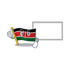 Flag kenya thumbs up with board cartoon vector