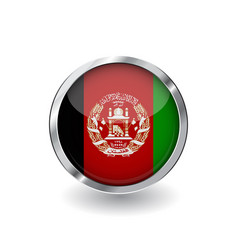 flag of afghanistan button with metal frame and vector image