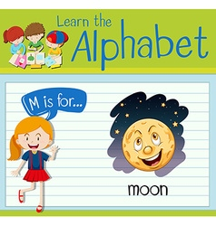 Flashcard alphabet m is for moon vector