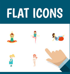 Flat icon pregnancy set of sport yoga pregnancy vector