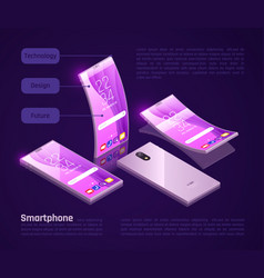 foldable gadgets isometric composition vector image