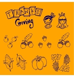 For kids doodle thanksgiving fruit and vegetable vector
