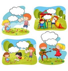 Four scenes children doing activities in the vector