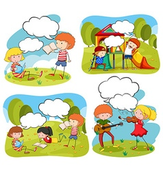 Four scenes of children doing activities in the vector
