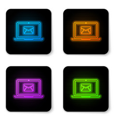 glowing neon laptop with envelope and open email vector image