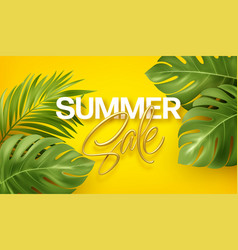 golden lettering summer sale on bright yellow vector image