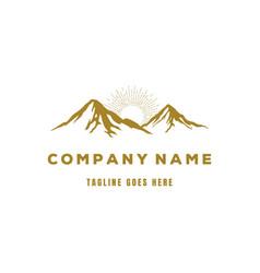 golden luxury mountain logo design vector image